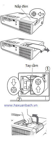 thao tác lắp bóng đèn máy chiếu 3M X20