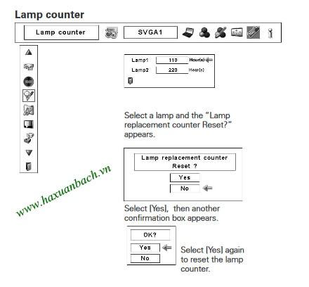 Hướng dẫn cách xóa giờ cho bóng đèn máy chiếu Christie LX900