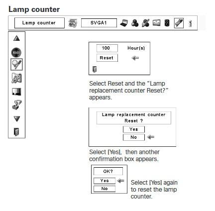 Hướng dẩn xóa giờ cho bóng đèn máy chiếu poa-lmp124