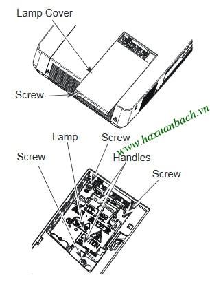 Cách thay bóng đèn máy chiếu Sanyo PLC-XU355