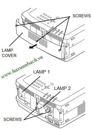 08 bước thay bóng đèn máy chiếu Christie LX65
