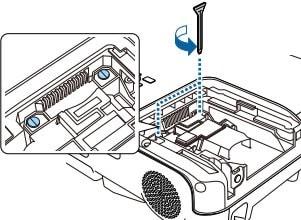 Tháo các  vít bảo vệ bóng đèn EB-U32 cho máy chiếu