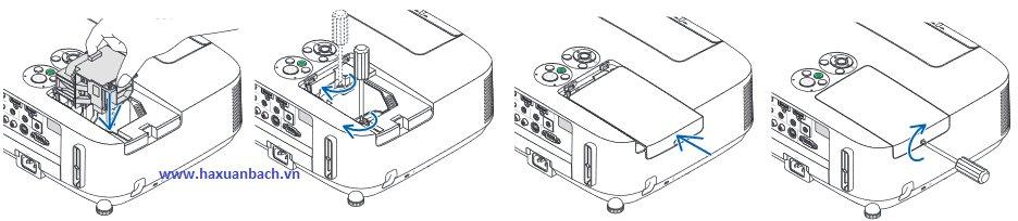 Hướng dẫn thay thế bóng đèn máy chiếu NEC NP-P451W tiếp theo