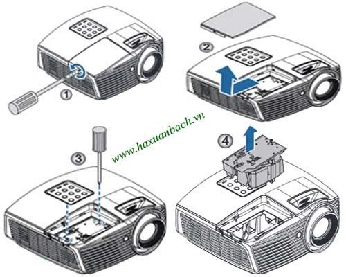 Cách thay bóng đèn máy chiếu Optoma HD50