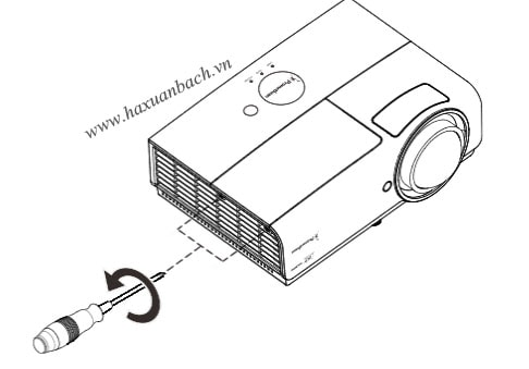 Tháo hai ốc vít trên nắp khoang đèn PRM-45