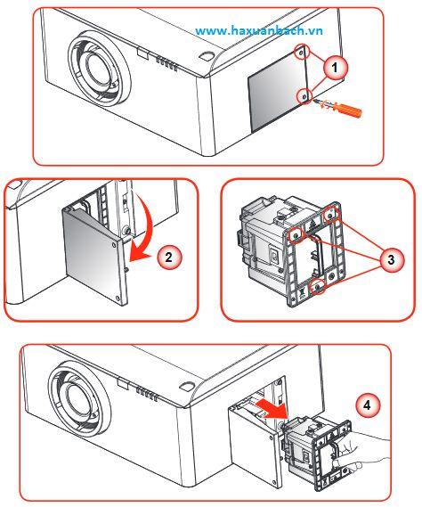 Hướng dẫn thay thế bóng đèn máy chiếu Viewsonic Pro10100