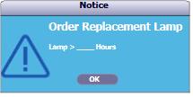 Cảnh báo thay đèn máy chiếu Viewsonic PJD5250