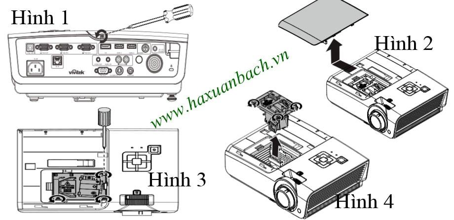 Cách thay bóng đèn máy chiếu Vivitek DH976