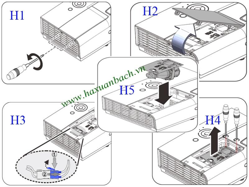 Cách thay bóng đèn máy chiếu Vivitek DX813