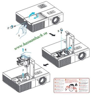 cách thay bóng đèn máy chiếu Acer P1373WB