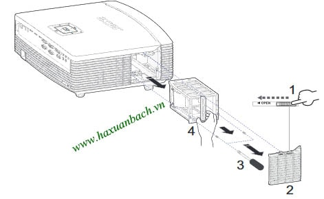 Cách thay bóng đèn máy chiếu Acer P7305W